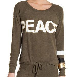 Chaser Peace Pullover Fleece Sweatshirt SZ XS